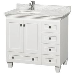 """Wyndham Collection Acclaim 36"""" White Single Vanity with Marble Top, Square Sink and Mirror"""