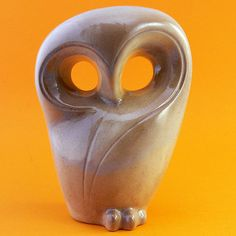 pottery sculpting | Vintage Beige Pottery Owl Sculpture
