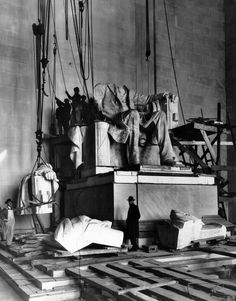 The statue of Abraham Lincoln in the Lincoln Memorial undergoes installation in Washington DC, June 1920 Lincoln Birthday, Lincoln Memorial, Rare Images, American Revolutionary War, America Civil War, Civil War Photos, National Archives, First Photograph, Monuments