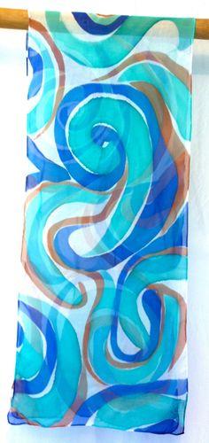 Blue Silk Scarf. Hand Painted Silk Scarf. Blue MOD Swirl. Handmade silk scarf. Silk Chiffon Scarf. Silk Scarves Takuyo. approx 13x68 in.. $70.00, via Etsy.