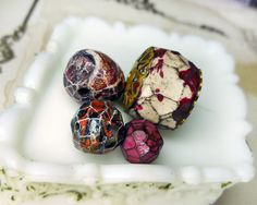 Polymer Clay Beads 4 Rustic Faceted Beads by shipwreckdandysupply