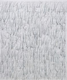 GHADA AMER THE DEFINITION OF THE WORD FEAR IN ENGLISH, 2007 Embroidery and gel medium on canvas 185 x 152 cm