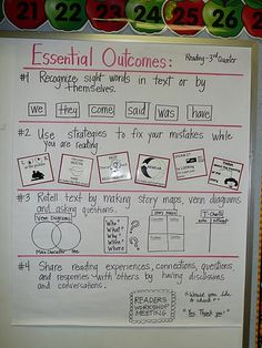 Essential Outcomes. This is brilliant. I must recreate this. I might make a literacy folder for each student and once they meet each goal they can check it off and earn a reward.
