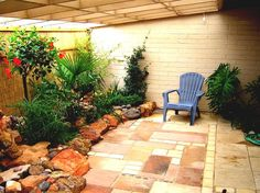 garden-ideas-design-adorable-patio-to-create-an-with-concrete-tiles-material-and-adirondac-chair.jpg (942×706)