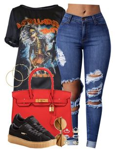 """""""You a Rico Suave, n•gga. Ride around listening to Sade, n•gga"""" by cheerstostyle ❤ liked on Polyvore featuring Dsquared2, Hermès, Melissa Odabash, Puma and Topshop"""