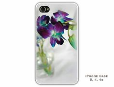 iPhone case 4, 4s 5. Purple blue Orchids in Glass by HPaquinPhotography, $24.95