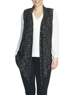 Chaus Sleeveless Eyelash Knit Vest Women's Black Small