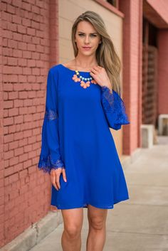 Elegant Efforts Dress, Royal Blue || It takes so little effort to look elegant once you slip into this beauty! It pretty much does all the work for you! With gorgeous lace detailing and a classic cut like this it's not hard to see why! All you have to do is add some classy heels and a fab shiny necklace!
