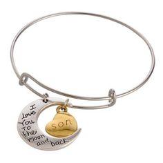 Retro Classic English Word Heart Moon Bracelet For Women