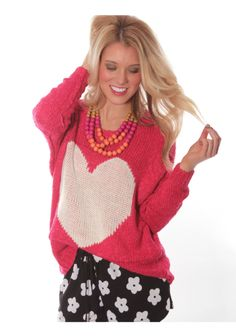 Early Spring '14 style from ShopRiffraff.com! Pink Heart Sweater, Daisy Drawstring Shorties, Statement Necklace!