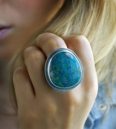 Deep Blue - Chrysocolla Sterling Silver Ring