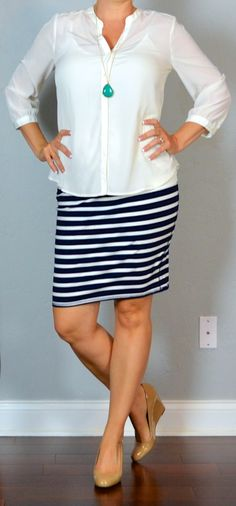 Outfit Posts: outfit post: white blouse, striped jersey pencil skirt, nude wedges