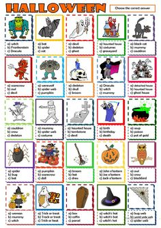 Multiple choice activity on Halloween vocabulary. Halloween Crafts For Toddlers, Holidays Halloween, Halloween Party, Halloween Skull, Halloween Vocabulary, Halloween Worksheets, English Games, English Activities, English Lessons