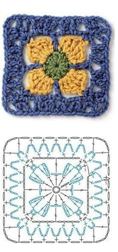 Crochet Square Motif - Chart ❥ 4U // hf