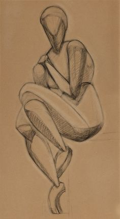 RISD Museum: Raymond Duchamp-Villon, French, 1876-1918. Femme Assise, Study, 1914. Charcoal on paper. 45.1 x 24.8 cm (17 13/16 x 9 13/16 inches). Mary B. Jackson Fund and Museum Membership Fund 67.090