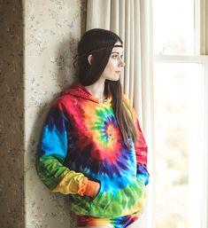 Tie Dye Rainbow Pride Festival Hoodie - Cotton Chakra Hippie Pullover Sweatshirt