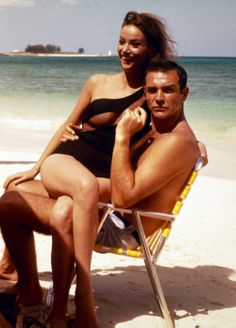 Claudíne Augér and Sean Connery on a break in the Bahamas, in preparation for the Bond film 'Thunderball' (the film was released in 1965) ~ The film's producers saw Claudíne Augér while she was on holiday in the Bahamas; she had never acted, but Augér impressed them so much that they re-wrote the part to that of a French woman, to better suit Augér. Although she took lessons to perfect her English, Augér's voice was eventually dubbed by Níkkí, van der Zyl.