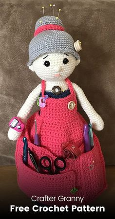 Crafter Granny Free Crochet Pattern s#crochet #yarn #crafts #toy #homedecor
