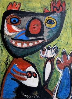 Karel Appel || Smile || 1950 || Paint on canvas