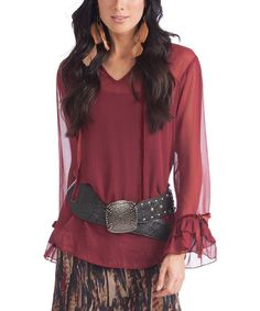 This Burgundy Sheer Mariah V-Neck Top is perfect! #zulilyfinds