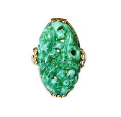 Clark and Coombs Ring Jade Glass 10K Gold Filled Antique Vintage Jewelry by zephyrvintage on Etsy