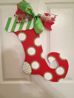 Items similar to Handpainted Wooden Personalized Red Christmas Stocking Door Hanger on Etsy Grinch Christmas Decorations, Christmas Craft Fair, Office Christmas, Christmas Room, Christmas Gift Box, Noel Christmas, Christmas Signs, Holiday Crafts, Christmas Stockings