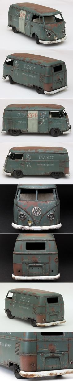 VW van - weathering. By Apoloniusz Musialek. HASEGAWA 1/24 scale VW Type 2 Delivery Van (1967) #Volkswagen #model_cars #scale_model http://mastermodels.blogspot.com/2011/02/vw-van-weathering.html