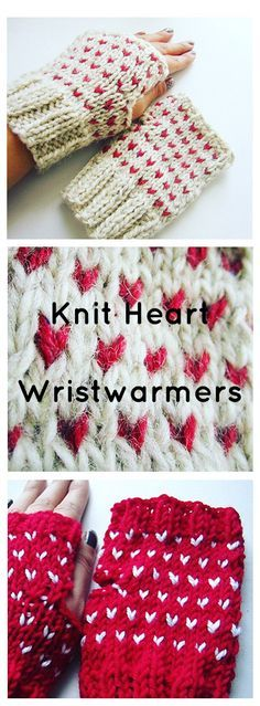 Heart Wristwarmers. These cute knit fingerless gloves will keep your hands warm and your fingers free. They're a great way to use up a lonely yarn skein lying around as well as smaller scraps for the accent color. Make some for yourself or your valentine with this free knitting pattern :)