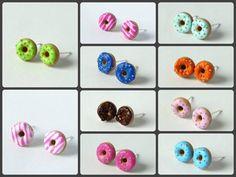 Miniature donut earstuds earrings handmade by ShinyStuffCreations
