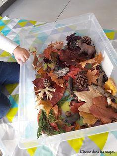 Maman dans les nuages: Bac sensoriel de la forêt Sensory Table, Sensory Bins, Reggio Emilia, Tuff Tray, Woodland Theme, Land Art, Baby Crafts, Winter Garden, Food Videos