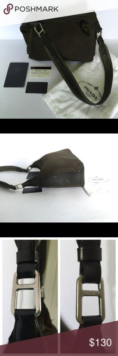 """Authentic PRADA Tessuto Nastro Brown Shoulder Bag Excellent Cond w/ Authenticity Cards & Dust Bag. No holes or stains. Only sign of wear is letter 'P' on zipper pull. Measures 8""""x12""""x4.5"""" Strap drop: 15"""" Prada Bags Shoulder Bags"""