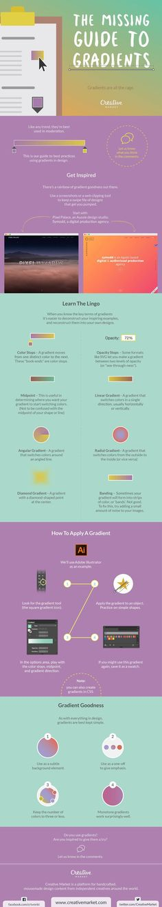 Business infographic : On the Creative Market Blog  The Missing Guide To Gradients