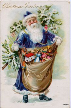 Vintage Christmas postcard with a beautiful blue Santa.