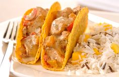 Spicy Chicken tacos with Mango rice
