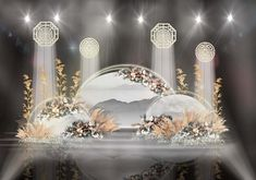 Классическая Jiangnan полукруглая краска для рисования бамбука полые украшения свадебные визуализации Wedding Altars, Wedding Signs, Rustic Wedding, Stage Design, Event Design, Wedding Photo Walls, Wedding Stage, Wedding Preparation, Arte Floral