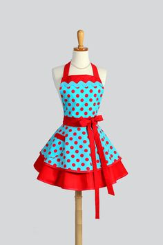 Ruffled Retro Apron - Woman Apron Pinup Woman Apron Vintage Style Turquoise and Red Polka Dots Rockabilly Cute Apron Sexy Apron Personalize