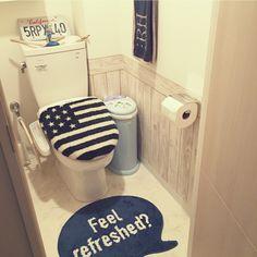manaminnie86さんの、バス/トイレ,トイレ,WTW,西海岸,壁紙屋本舗,RonHarman,板壁風壁紙,RHC,カリフォルニアスタイル,愛犬と暮らす家,西海岸インテリア,カリフォルニアスタイルに憧れて,CARIFORNIA,ロンハーマン風にしたい,のお部屋写真 Toilet Closet, Toilet Room, Happy Home Designer, My First Apartment, Bathroom Toilets, Bathrooms, California Style, Surfs Up, Layout Inspiration