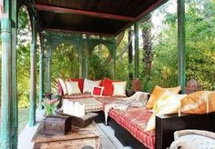 outdoors contrasted with the luxury Moroccan decor is fantastic