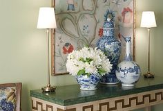 Blue and white Chinese ceramics - could work on buffet -- add lamps?