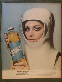 """TWIGGY AD.  This print advertisement was produced in 1968, a year before the Apollo 11 moon landing. Lestoil, a product developed to remove greasy stains in the home, advertised with the slogan """"Women of the future will make the moon a cleaner place to live""""."""