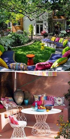 Los bancos exteriores de obra una opción muy chula para dar un toque deco a tu #jardín o #terraza…