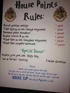 Classroom management harry potter style. For middle school, each block is a house and receive points. I am using marbles in mason jars for each block.
