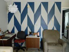 DIY Painted Herringbone wall