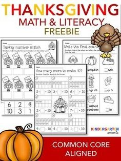 Thanksgiving free: Enjoy 3 Thanksgiving printables! Want more Thanksgiving Products? Thanksgiving Activities Included are: 1 Literacy page - Write the first sound 2 math pages - How many more to make 10 and Numeral match to number