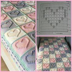 10 Crochet Lace For Baby Gorgeous Ideas Crochet Heart Blanket, Crochet Doily Rug, Crochet Bedspread Pattern, Crochet Baby Blanket Free Pattern, Baby Afghan Crochet, Crochet Square Patterns, Crochet Squares, Crochet Granny, Filet Crochet