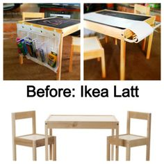 $20 Ikea Latt table transformed with spray chalk, cheap curtain rod for holding drawing paper, a cut shoe organizer for crafts held on with command hooks!