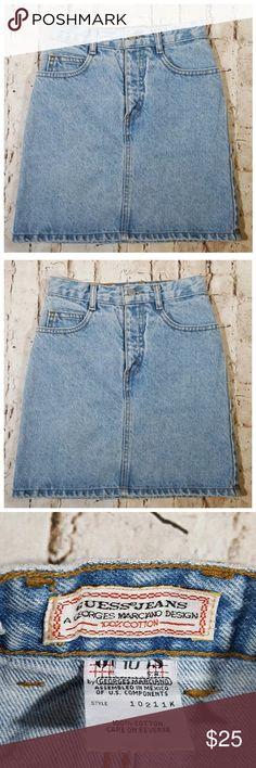 a7d90e740d Vintage GUESS Jeans High Waist Denim Mini Skirt 10 Guess Jeans vintage  light wash high waist