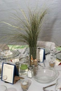 Mrs Corn's Newport Clambake Wedding (photo by Kate Whitney Lucey http://katewhitneylucey.com) - DIY beach grass centerpiece