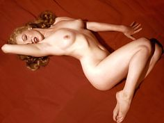 Kelley produced 24 transparencies of two basic poses, one a full-length profile of Marilyn lying on a swatch of red velvet, the other a seated Marilyn with her head tossed back and legs tucked beneath her.