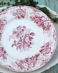 Antique French Red Transferware Floral Plates Set of 6-Faience, 19th century,flowers,aesthetic,st.,amand, nord, orchies,dinner,table, ware, tableware,family,black, blue,white,